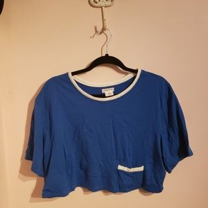 Urban outfitters blue cropped ringer tee